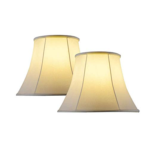 Lampshades for Table Lamp Set of 2 Large,Bell Lamp Shades for Table Lamps Fabric off White,10x16x14 Inch,Assembly Required, Spider.