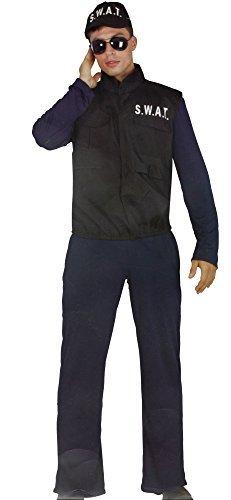 Black Cat Polizei Kostüm Herren Karneval SWAT Uniform 3 teilig bestehend aus Weste Overall Mütze in Einheitsgröße (One Size, Gr. S-M) Fasching Verkleidung