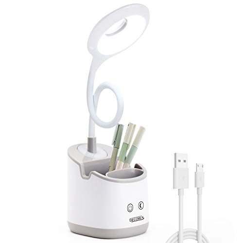 Lampe de Bureau LED avec Veilleuse Lampe de Table Lampe de Chevet Enfant Lampe de Lecture Dimmable Desk Lamp pour Étudier, USB Rechargeable, Porte Stylo & Téléphone, Col de Cygne Flexible (Gris)