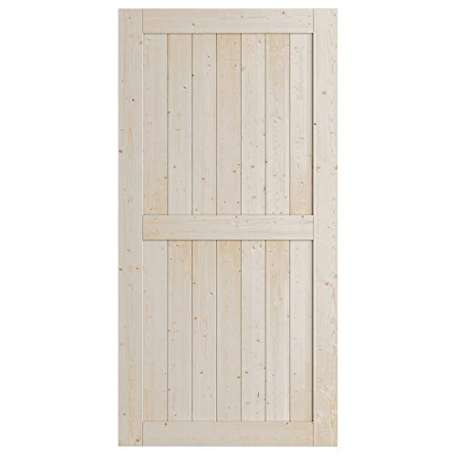 SmartStandard 42in x 84in Wood Sliding Barn Door, Pre-Drilled Ready to Assemble, DIY Unfinished Solid Spruce Wood Panelled Slab, Interior Single Door Only, Natural, H-Frame (Fit 7FT-8FT Rail)