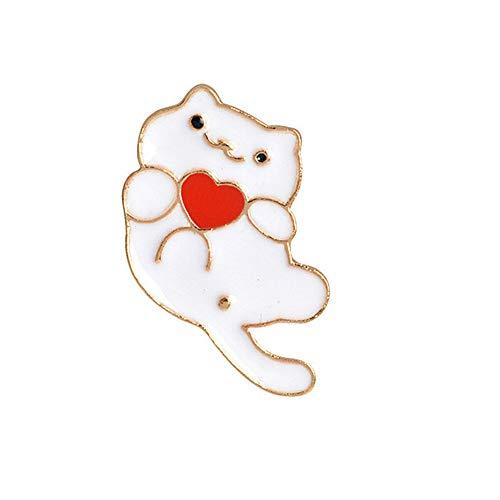Ruankenshop Broches de Bisuteria Baratos Broches de Bisutería Perro Broche Insignia de Metal de Amapola Bonitos alfileres para Bolsos Broche Pin para Mujer White Cat