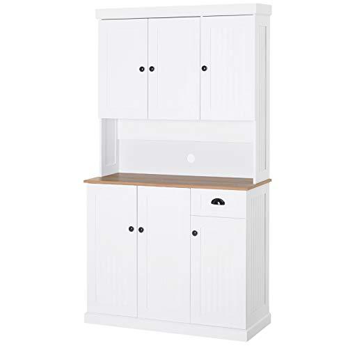 HOMCOM Küchenschrank Sideboard Kommode mit Arbeitsplatte Schublade Weiß, 101 x 39 x 180 cm