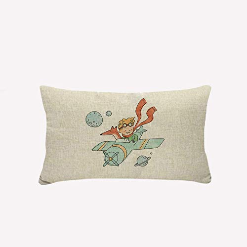 Cekell Throw Pillow Covers Little Prince Pillowcase Cute Decorative 30 * 50 for Sofa Car Bedroom Beige Fur Linen Cushion Cover