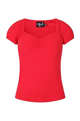 Hell Bunny MIA Top Camiseta Vintage 1950 Estilo Retro Rockabilly Algodón Elástico Pinup - Rojo (L)