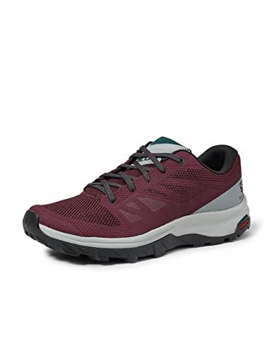 Salomon Women's OUTline W Hiking Shoe, Winetasting/Quarry/Green Gables, 8
