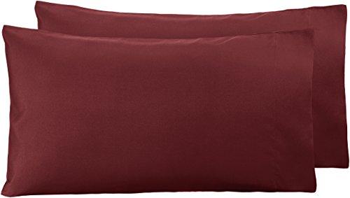Amazon Basics - Funda de almohada de microfibra, 2 unidades, 50 x 80 cm - Burdeos