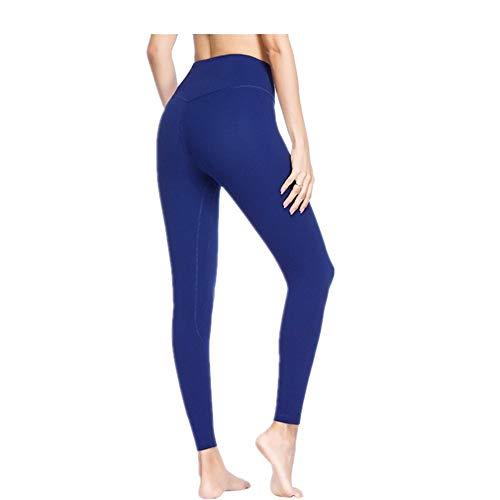 Zjcpow - Pantalones de yoga para mujer, ajustados, cintura alta, para pilates, fitness, gimnasio, entrenamiento, deportes, adelgazamiento, para ejercicio diario, poliéster, negro, Large