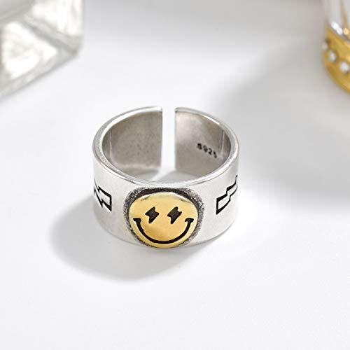 Mayelia Anillo de oro para mujer, anillo de cara sonriente vintage, anillo en caja, banda ajustable de acero inoxidable, anillos abiertos para mujeres y niñas