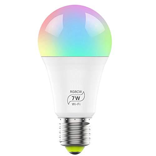 Bombilla inteligente WiFi, regulable, multicolor, bombilla LED...