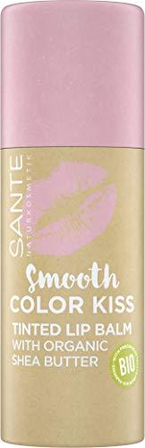 Sante Naturkosmetik Smooth Color Kiss Getönter Lippenbalsam mit Bio-Sheabutter Spendet Feuchtigkeit Zarter fruchtiger Duft, 04 Soft Rosé, 8.5 g