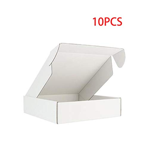 10 Stück Box Farbe Paket Karton Kleine Geschenkbox Perücken Blanko 3 Schichten Wellpappe Home Dekoration (Farbe: Weiß, Größe: 36 x 26 x 4 cm)