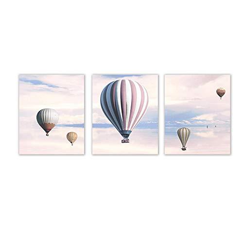 """Globo aerostático de helio, cielo rosa, lienzo, póster, paisaje de pared, impresión artística, cuadro de pintura, decoración del hogar escandinavo, 50x70 cm / 19,7""""x 27,6"""" Sin marco"""