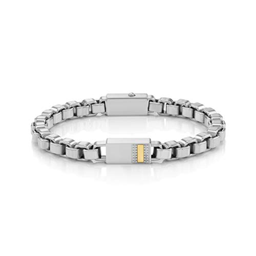 Nomination Style Bracelet for Men in Stainless Steel with Details in Gold