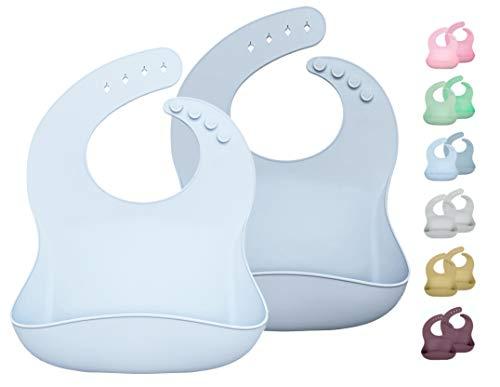 2 weiche Silikon Babylätzchen mit Auffangschale, Ergonomisch, Wasserdicht, Pflegeleicht, Schadstofffrei (Dusty Blue, Hellblau)
