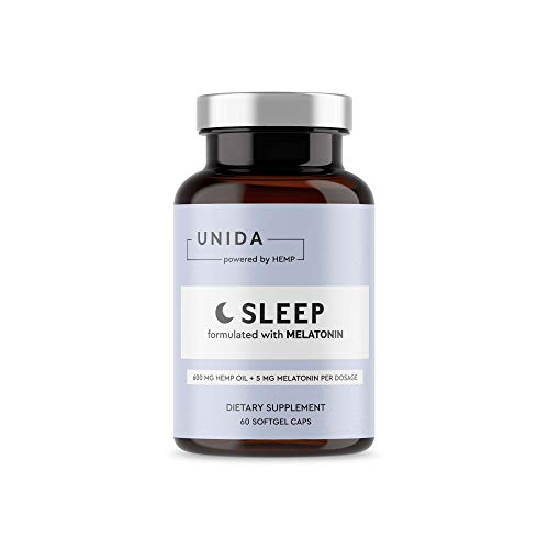 Unida Sleep | Natural Sleep Aid | 600mg of Hemp Oil + Melatonin, Valerian Root, L-Theanine, Passion Flower | 30 Servings Per Container