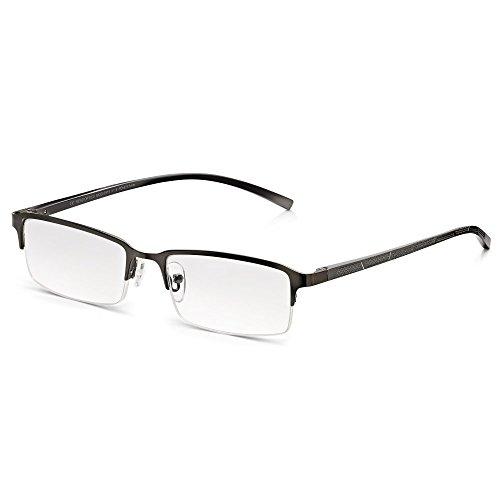 Read Optics Herren Lesebrille: Moderne rechteckige Halbrandbrille mit Sprung-Scharnieren. Entspiegelte Premium Difuzer™ Gläser in Stärke +1,0 mit UV Schutz. Hochqualitative Brille ohne Verschreibung