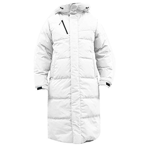 Graunt Men Long Hooded Coat Goose Feather wellensteyn Minus Degree Thick Warm Puffer Jackets,White,S