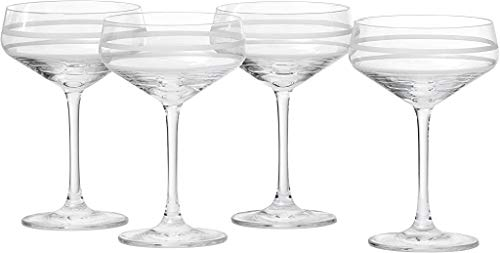 Crafthouse by Fortessa Professional Barware by Charles Joly, Etched Schott Zwiesel Tritan 8.8 oz Coupe Cocktail Glass, Set of 4, Clear