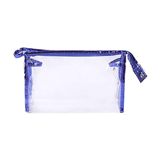 7 Piezas Bolsa de cosméticos de Moda Transparente portátil Bolsa de Almacenamiento Impermeable Maletín Bolsas de Maquillaje de Viaje,Royal Blue,22.5 * 14 * 7cm
