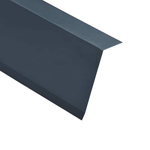 Tidyard Perfiles de Borde Tejado en L 5 uds Perfil de Protección Aluminio Gris Antracita 170 cm