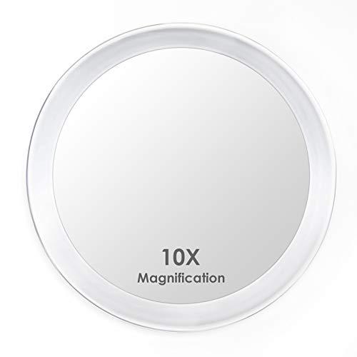 Auxmir Make Up Spiegel mit 10-Fach Vergrößerung, Badezimmer Schminkspiegel 15cm rund mit 3 Saugnäpfen für zuhause und unterwegs