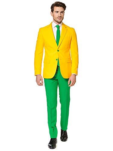 OppoSuits Gelb und Gold Fasching Anzug für Männer in Australischen Prints - Besteht aus Jacke, Hose und Krawatte - EU54