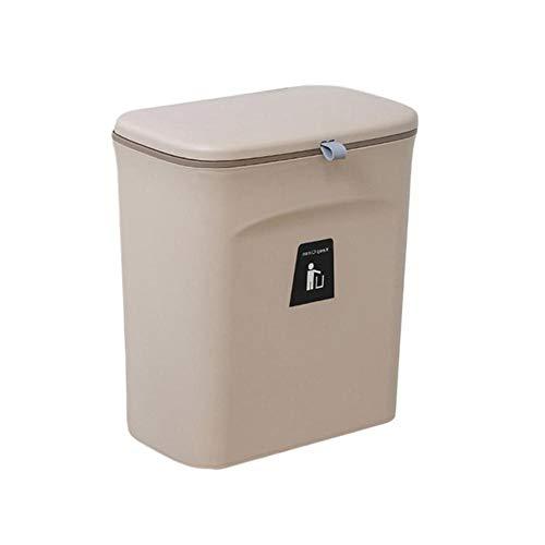 9L Wand Mülleimer mit Deckel Abfallbehälter Küchenschranktür Hängende Mülleimer Papierkorb Mülleimer Mülleimer Reinigung 2021-Kaffee, Frankreich