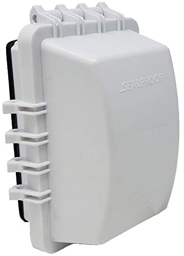 Sealproof 1-Gang Weatherproof In Use Outlet Cover | Horizontal/Vertical Outdoor Plug and Receptacle Protector, Lockable Bubble Cover, UL Extra Duty Compliant, 18 Configurations, White