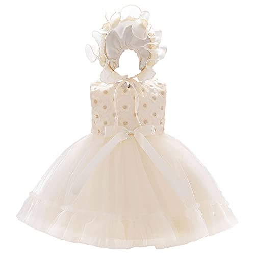Vestido de bautizo de cumpleaños para niña, sin mangas, con lentejuelas, flor, lazo, tul, tutú, princesa, vestido de fiesta de boda, con sombrero para niños pequeños, champán, 2-3 Años