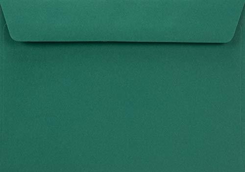 100 Dunkelgrün C6 Briefumschläge, 114x162mm, 90g, Burano English Green, gerade Klappe, ohne Fenster, ideal für Geburtstag, Weihnachten, Hochzeit, Einladungen, Grußkarten, Visitenkarten