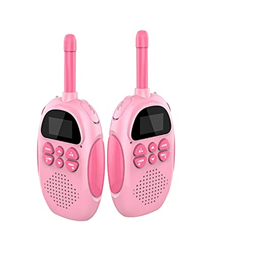 SSSW Juguetes para Niños Walkie Talkie para Niños 22 Canales LCD Pantalla VOX Larga Distancia 3KM,Regalos para Niños o Niñas (Color : Pink)
