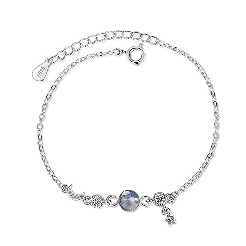 NDASNDIASND Cute Ladies Bracelet Stars Moon Round Exquisite Jewelry Trendy 925 Silver Bracelet Ladies Gift Party Jewelry Fashion