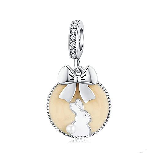 LISHOU DIY S925 Colgante De Plata Esterlina Conejo Grabado Bowknot Charms Beads Fit Original Pandora Pulsera con Cuentas Collar DIY Mujer Fabricación De Joyas