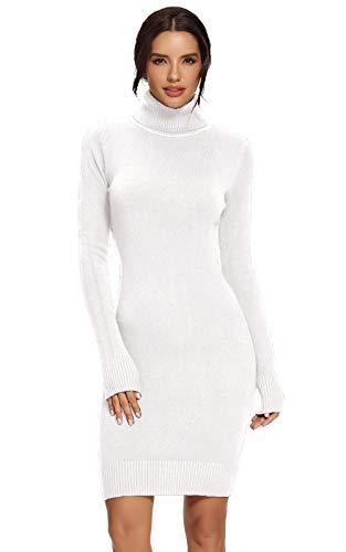 AVACOO Damen Kleider Strick Pulloverkleid Elegant Strickkleid Rollkragen Langarm Tunika Kleid Midikleid Weiß L 40