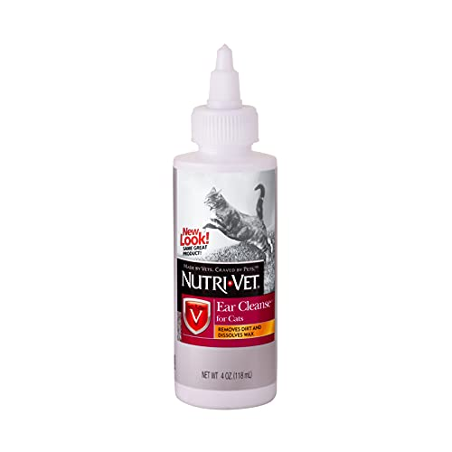 Nutri-Vet Ear Cleanser for Cats   Cleans and Deodorizes with Gentle Ingredients   4 Ounces