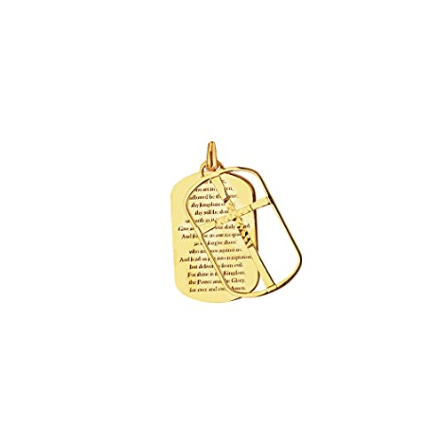Collar con colgante de oro amarillo de 14 quilates con frase en cruz religiosa para mujer