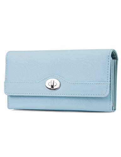 Mundi File Master Womens RFID Blocking Wallet Clutch Organizer With Change Pocket (One Size, Ice Blue)