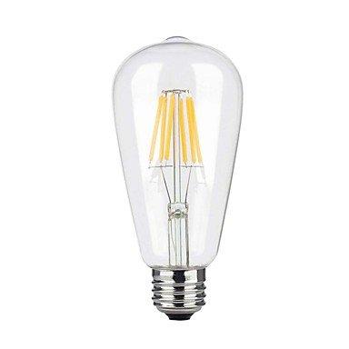 HZZymj-6W E26/E27 Ampoules à Filament LED ST64 6 COB 600 lm Blanc Chaud Gradable AC 110-130 V 1 pièce