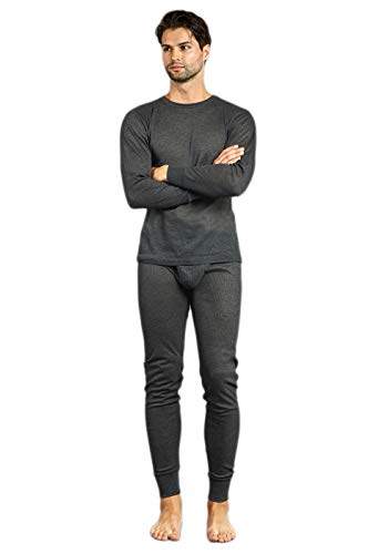 Men's 2pc Long Thermal Underwear Set (Charcoal, Small)