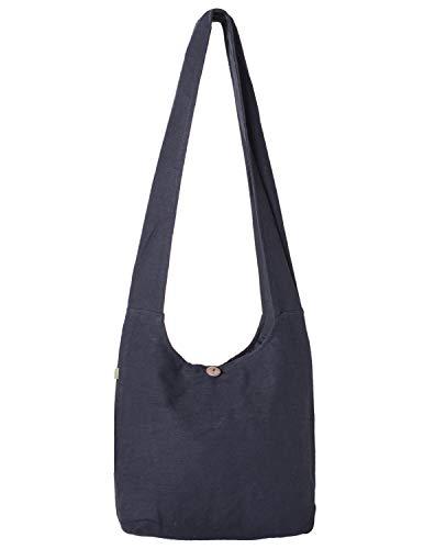 Vishes - Stoff Shopper Stofftasche Einkaufstasche Umhängetasche große Beuteltasche Schultertasche - Damen Herren schwarz