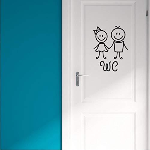 Cartoon hommes et femmes WC sticker mural pour décoration de salle de bains vinyle home stickers autocollants imperméables affiche de porte signe de toilette