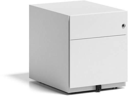 BISLEY Rollcontainer Note mit Griffleiste, 1 Universalschublade, 1 HR-Schublade, Metall, 696 Verkehrsweiß, 56.5 x 42 x 49.5 cm