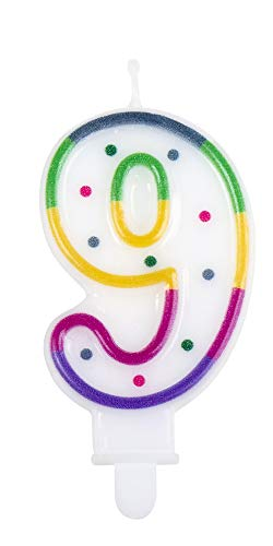 1 STK. Kerze Nummer 9 mit Halter Höhe 7cm Geburtstags Dekoration Kuchen