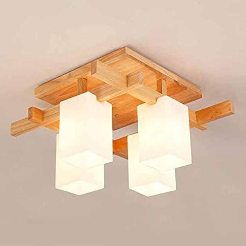 XSYL LED plafondlamp, LED plafond lamp met E27 socket houten plafond lamp, woonkamer lamp slaapkamer interieur lamp kroonlamp kinderkamer