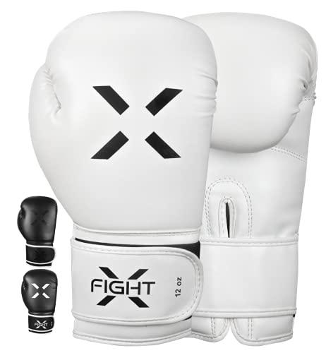 FightX Boxing Gloves for Men & Women MMA Heavy Bag Gloves for Adults Boxing Gloves Men Lightweight Punching Bag Boxing Gloves for Training Sparring Boxing Gloves Kickboxing Gloves (White/Black, 8oz)