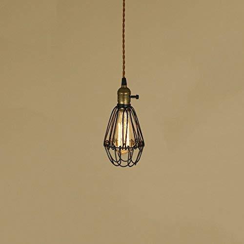 Amerikaanse stijl ijzer landelijk telescoop kooi kleine spin Retro E27 lamp verstelbare hanglamp voor keuken Landhuis hal woonkamer (kleur: zwart)