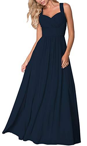 Roiii Elegant Abendkleid Maxi Chiffonkleid V-Ausschnitt Strand Boho Party Kleid Casual Große Größen Cocktailkleid(42(Tag L),Dunkelblau)