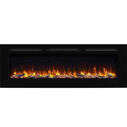 PuraFlame Alice 60 Inches Recessed Electric Fireplace, Flush Mounted for 2 X 6 Stud, Log Set & Crystal, 1500W Heater, Black