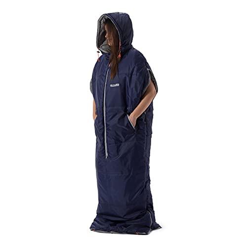 Lumaland Where Tomorrow Anziehbarer Schlafsack 210x80x60cm - 2-Wege Reißverschluss, mit Öffnungen für Arme und Füße - Outdoor Camping Body-Schlafsack - Navy Blau