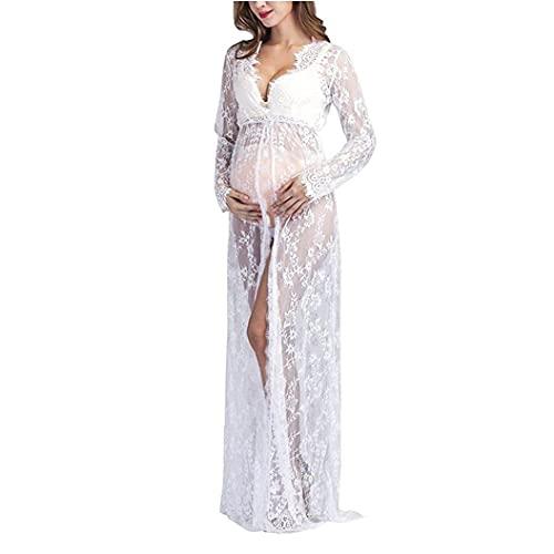 Abito da fotografia maternità V Abito con scollo a V Collo manica lunga Maxi Abito per le donne incinte Bianco M